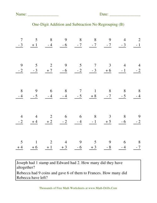 The Adding and Subtracting Single-Digit Numbers -- No Regrouping (B) Math Worksheet