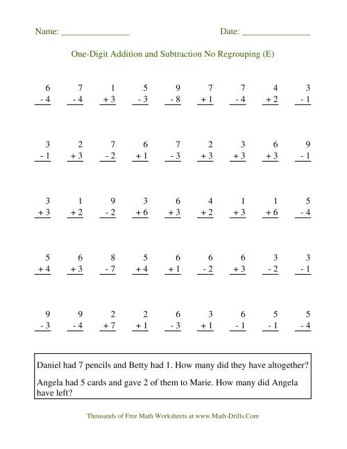 The Adding and Subtracting Single-Digit Numbers -- No Regrouping (E) Math Worksheet