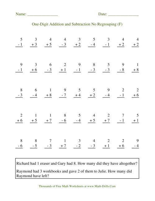 The Adding and Subtracting Single-Digit Numbers -- No Regrouping (F) Math Worksheet