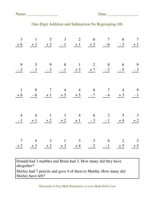 The Adding and Subtracting Single-Digit Numbers -- No Regrouping (H) Math Worksheet