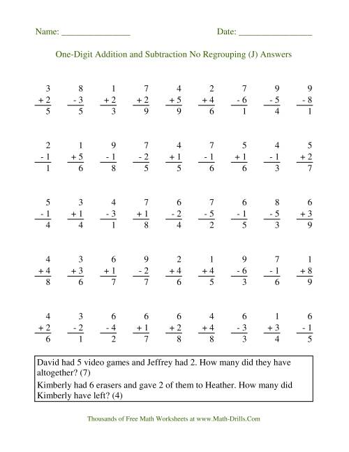 The Adding and Subtracting Single-Digit Numbers -- No Regrouping (J) Math Worksheet Page 2