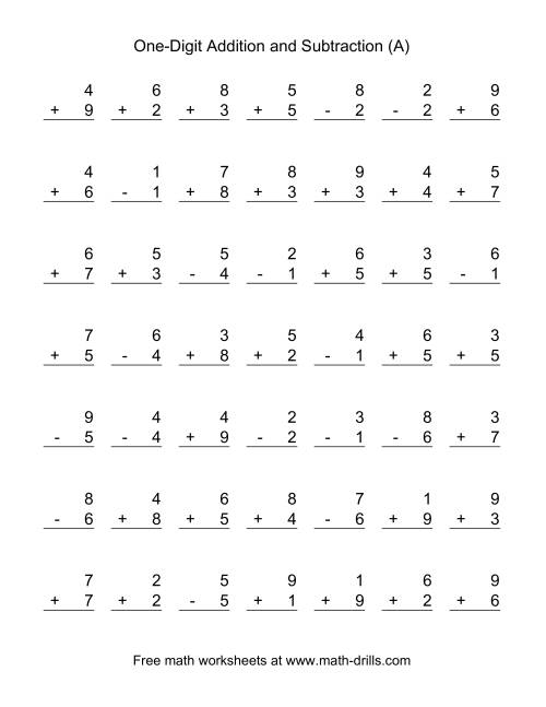 The Adding and Subtracting Single-Digit Numbers (A) Math Worksheet