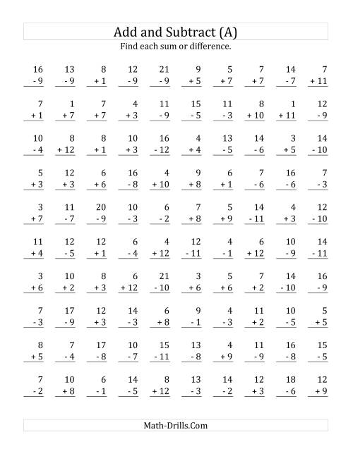 The Adding and Subtracting with Facts From 1 to 12 (A) Math Worksheet