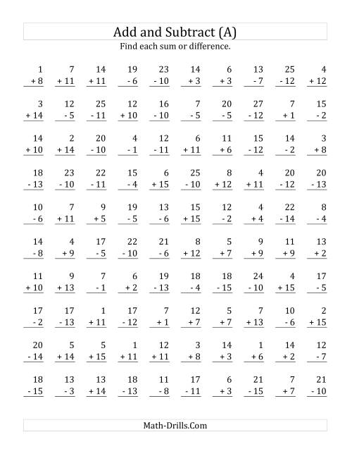 Printables Addition And Subtraction Worksheets adding and subtracting with facts from 1 to 15 a mixed the operations worksheet