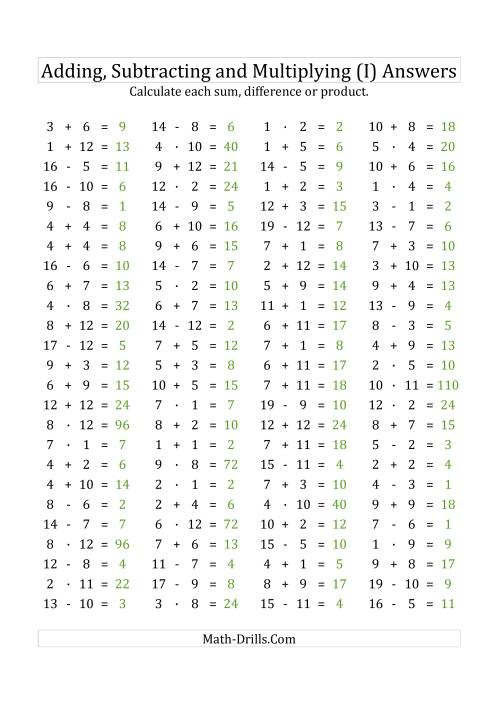 The 100 Horizontal Addition/Subtraction/Multiplication Questions (Facts 1 to 12) Euro Format (I) Math Worksheet Page 2