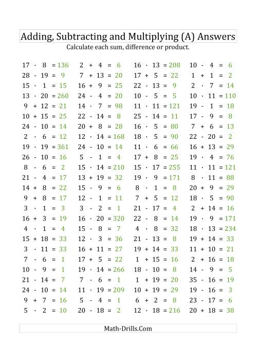 The 100 Horizontal Addition/Subtraction/Multiplication Questions (Facts 1 to 20) Euro Format (A) Math Worksheet Page 2