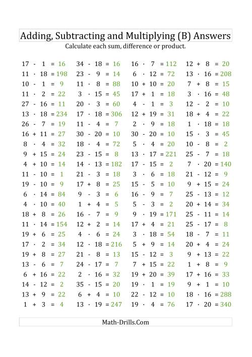 The 100 Horizontal Addition/Subtraction/Multiplication Questions (Facts 1 to 20) Euro Format (B) Math Worksheet Page 2