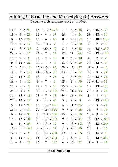 The 100 Horizontal Addition/Subtraction/Multiplication Questions (Facts 1 to 20) Euro Format (G) Math Worksheet Page 2