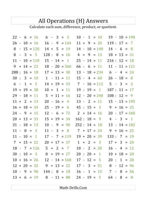 The 100 Horizontal Mixed Operations Questions (Facts 1 to 20) Euro Format (H) Math Worksheet Page 2