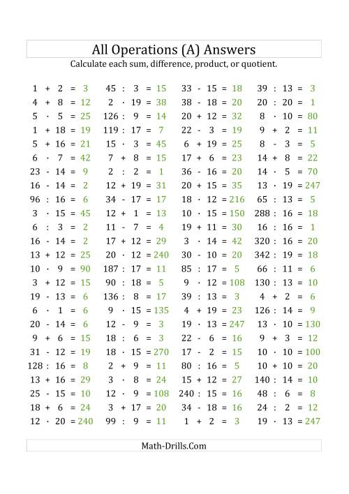 The 100 Horizontal Mixed Operations Questions (Facts 1 to 20) Euro Format (All) Math Worksheet Page 2