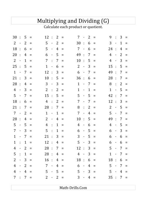 The 100 Horizontal Multiplication/Division Questions (Facts 1 to 7) Euro Format (G) Math Worksheet