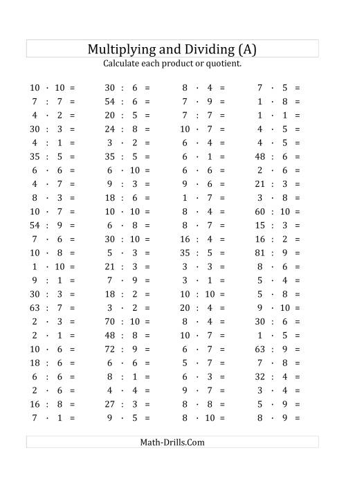 The 100 Horizontal Multiplication/Division Questions (Facts 1 to 10) Euro Format (All) Math Worksheet