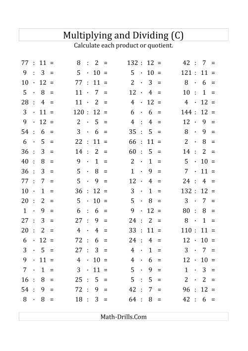 The 100 Horizontal Multiplication/Division Questions (Facts 1 to 12) Euro Format (C) Math Worksheet