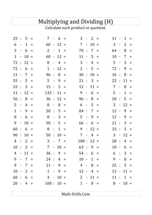 The 100 Horizontal Multiplication/Division Questions (Facts 1 to 12) Euro Format (H) Math Worksheet