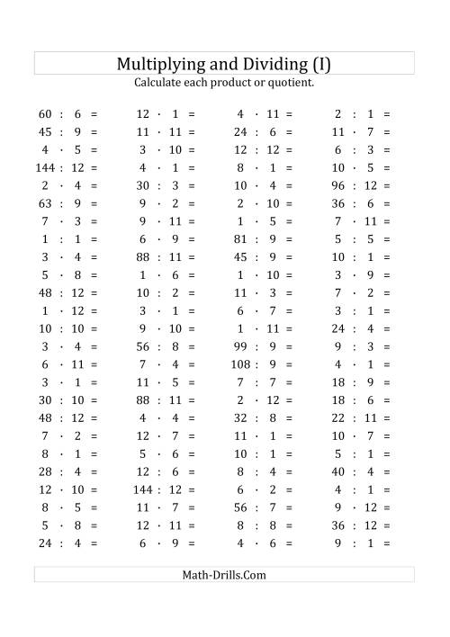 The 100 Horizontal Multiplication/Division Questions (Facts 1 to 12) Euro Format (I) Math Worksheet