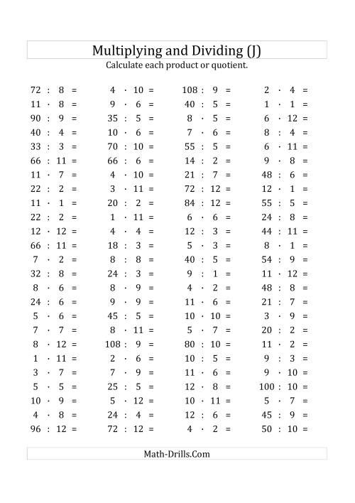 The 100 Horizontal Multiplication/Division Questions (Facts 1 to 12) Euro Format (J) Math Worksheet