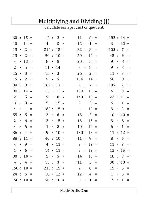 The 100 Horizontal Multiplication/Division Questions (Facts 1 to 15) Euro Format (J) Math Worksheet