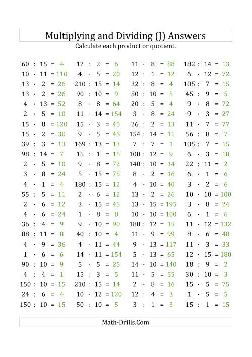 The 100 Horizontal Multiplication/Division Questions (Facts 1 to 15) Euro Format (J) Math Worksheet Page 2