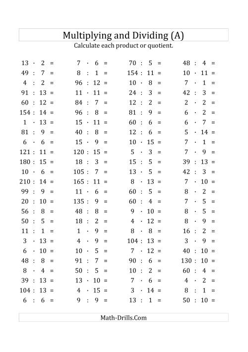 The 100 Horizontal Multiplication/Division Questions (Facts 1 to 15) Euro Format (All) Math Worksheet