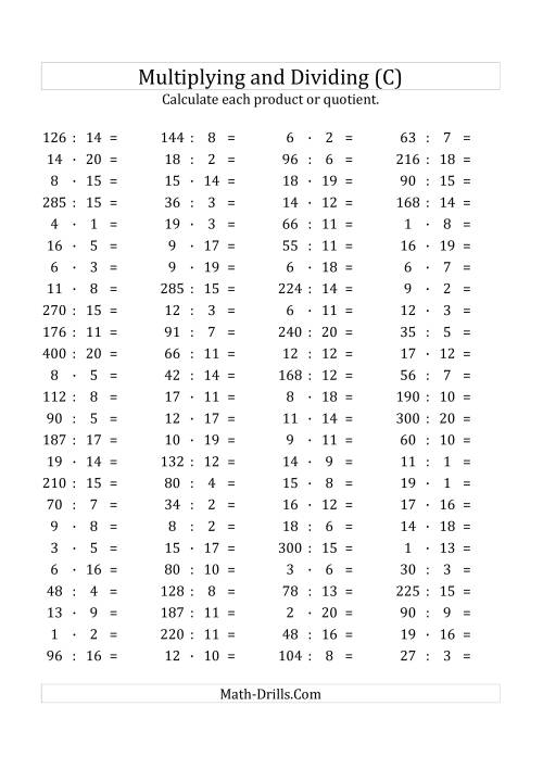 The 100 Horizontal Multiplication/Division Questions (Facts 1 to 20) Euro Format (C) Math Worksheet