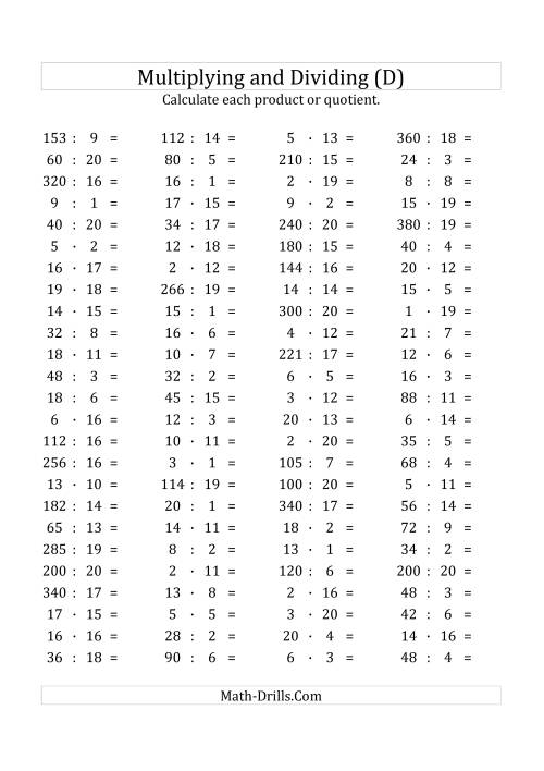 The 100 Horizontal Multiplication/Division Questions (Facts 1 to 20) Euro Format (D) Math Worksheet