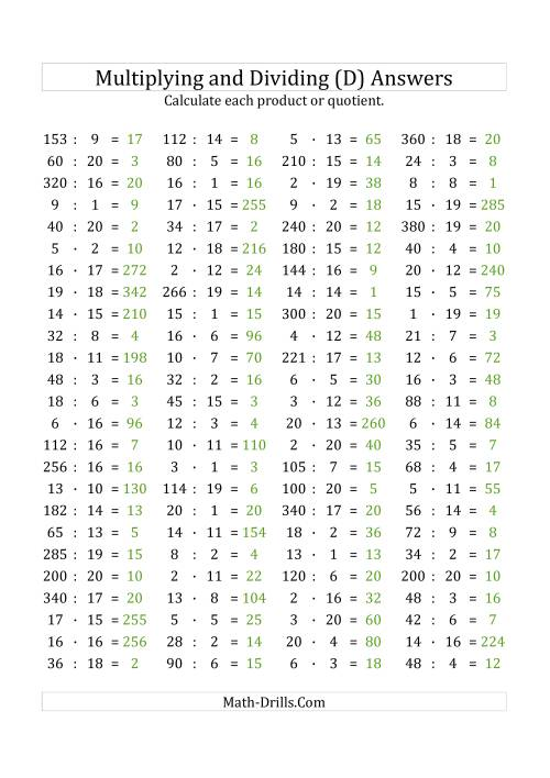 The 100 Horizontal Multiplication/Division Questions (Facts 1 to 20) Euro Format (D) Math Worksheet Page 2