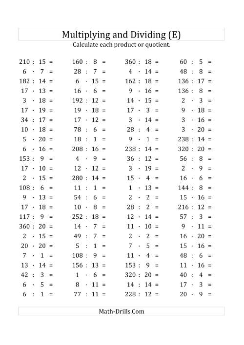 The 100 Horizontal Multiplication/Division Questions (Facts 1 to 20) Euro Format (E) Math Worksheet