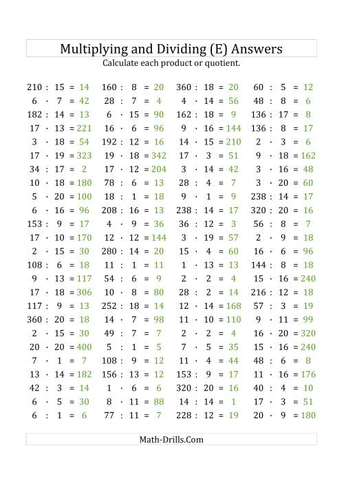 The 100 Horizontal Multiplication/Division Questions (Facts 1 to 20) Euro Format (E) Math Worksheet Page 2