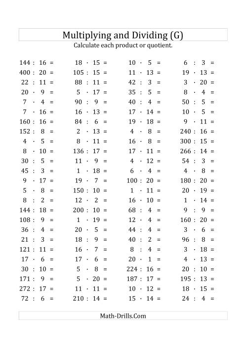 The 100 Horizontal Multiplication/Division Questions (Facts 1 to 20) Euro Format (G) Math Worksheet