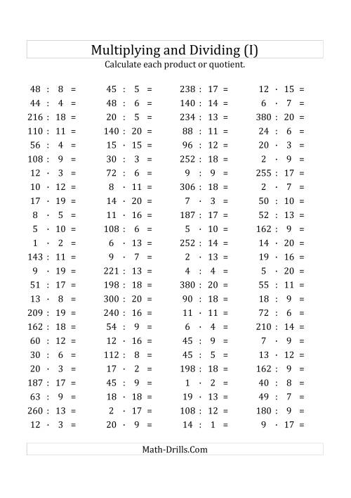 The 100 Horizontal Multiplication/Division Questions (Facts 1 to 20) Euro Format (I) Math Worksheet