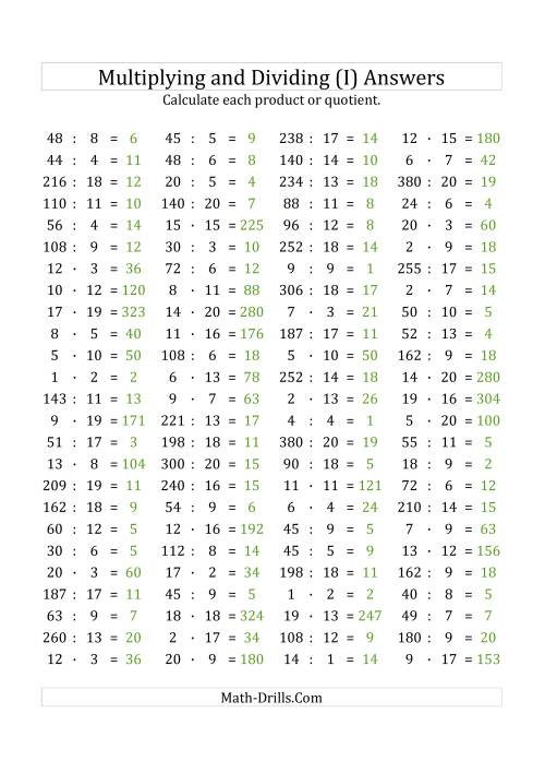 The 100 Horizontal Multiplication/Division Questions (Facts 1 to 20) Euro Format (I) Math Worksheet Page 2