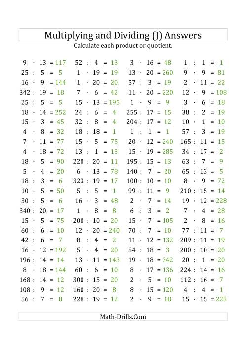 The 100 Horizontal Multiplication/Division Questions (Facts 1 to 20) Euro Format (J) Math Worksheet Page 2