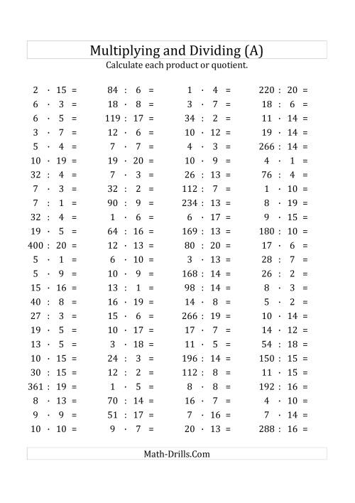 The 100 Horizontal Multiplication/Division Questions (Facts 1 to 20) Euro Format (All) Math Worksheet