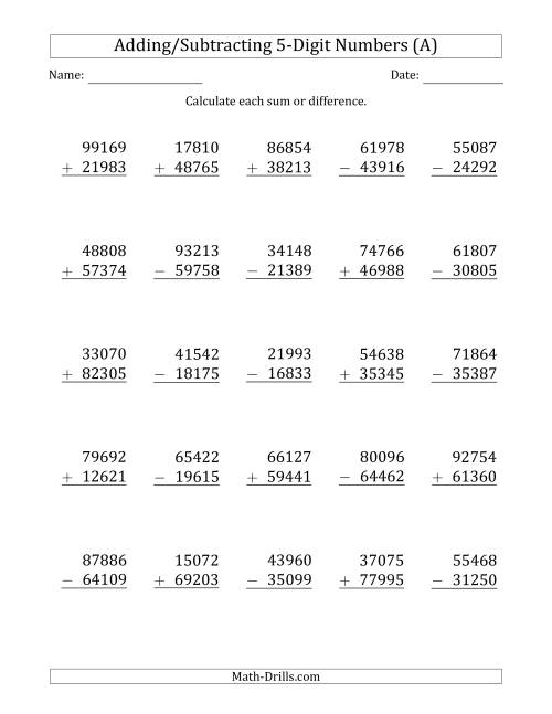 worksheet Addition Subtraction Worksheet 5 digit plusminus addition and subtraction with some the regrouping