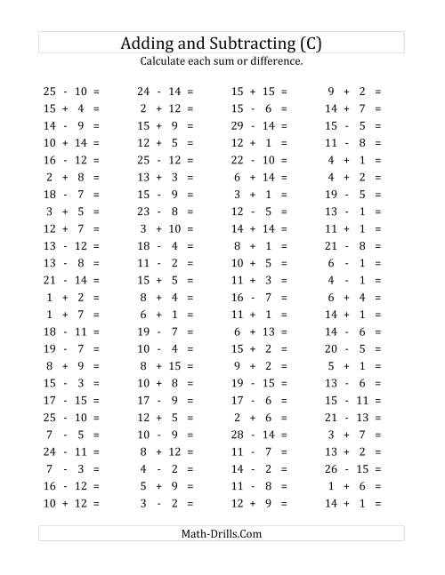 The 100 Horizontal Addition/Subtraction Questions (Facts 1 to 15) (C ...