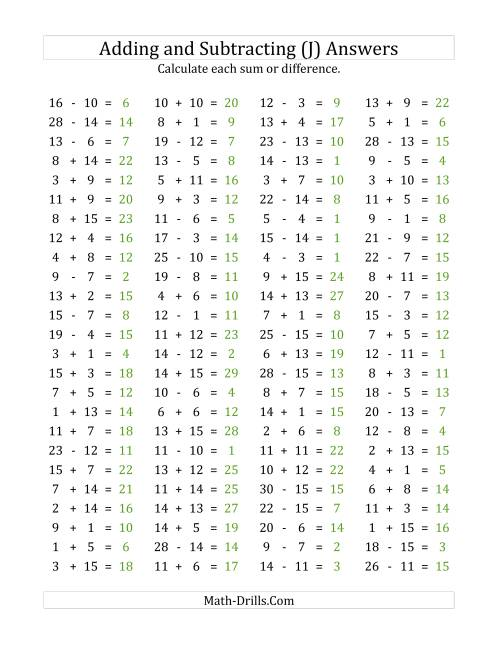 The 100 Horizontal Addition/Subtraction Questions (Facts 1 to 15) (J) Math Worksheet Page 2