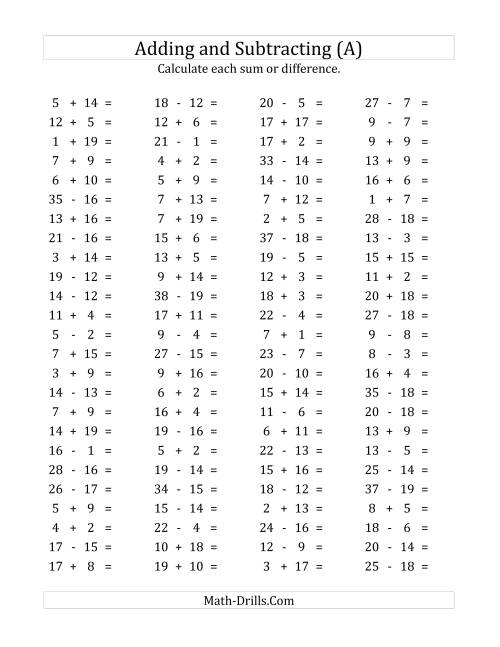 100 Horizontal AdditionSubtraction Questions Facts 1 to 20 A – Math Addition Subtraction Worksheets