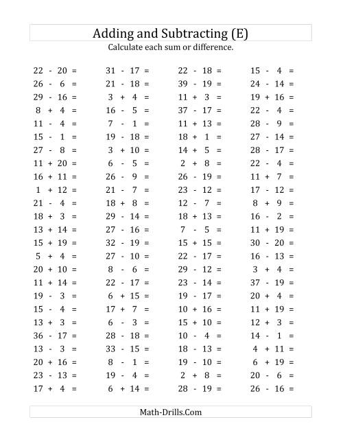 The 100 Horizontal Addition/Subtraction Questions (Facts 1 to 20) (E) Math Worksheet
