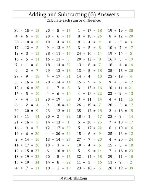 The 100 Horizontal Addition/Subtraction Questions (Facts 1 to 20) (G) Math Worksheet Page 2