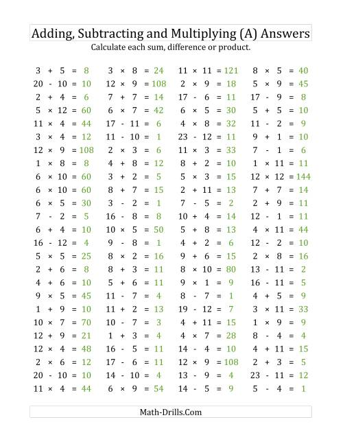 The 100 Horizontal Addition/Subtraction/Multiplication Questions (Facts 1 to 12) (A) Math Worksheet Page 2