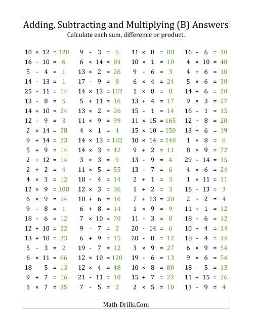 The 100 Horizontal Addition/Subtraction/Multiplication Questions (Facts 1 to 15) (B) Math Worksheet Page 2