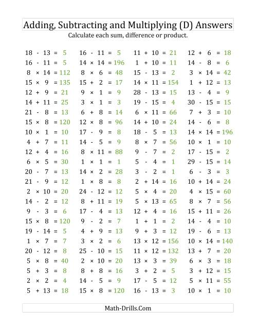 The 100 Horizontal Addition/Subtraction/Multiplication Questions (Facts 1 to 15) (D) Math Worksheet Page 2