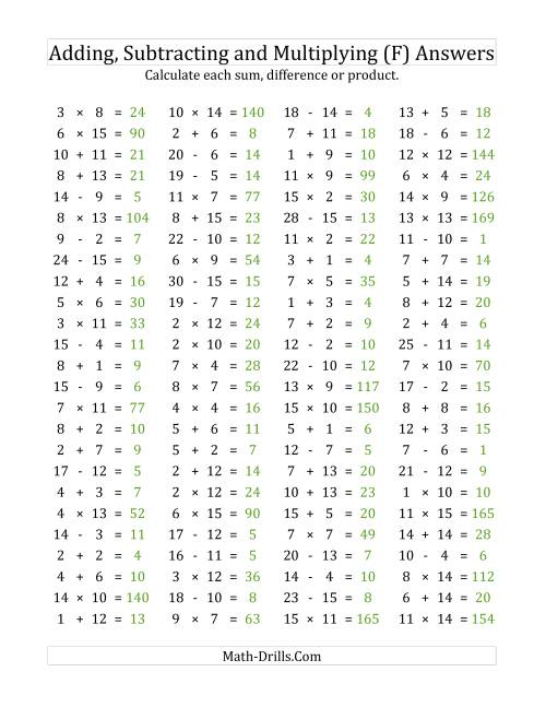 The 100 Horizontal Addition/Subtraction/Multiplication Questions (Facts 1 to 15) (F) Math Worksheet Page 2