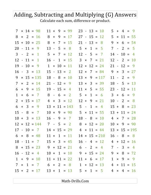 The 100 Horizontal Addition/Subtraction/Multiplication Questions (Facts 1 to 15) (G) Math Worksheet Page 2