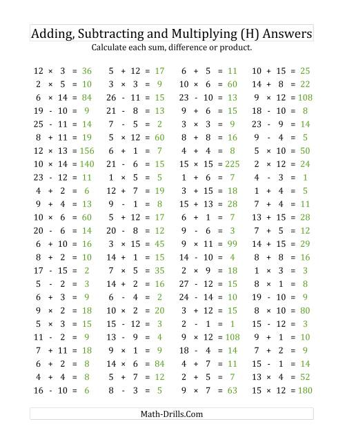 The 100 Horizontal Addition/Subtraction/Multiplication Questions (Facts 1 to 15) (H) Math Worksheet Page 2