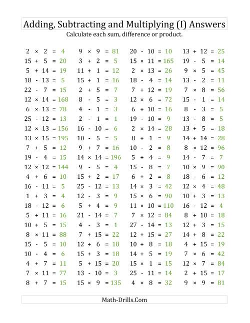 The 100 Horizontal Addition/Subtraction/Multiplication Questions (Facts 1 to 15) (I) Math Worksheet Page 2