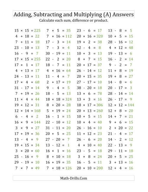The 100 Horizontal Addition/Subtraction/Multiplication Questions (Facts 1 to 20) (A) Math Worksheet Page 2