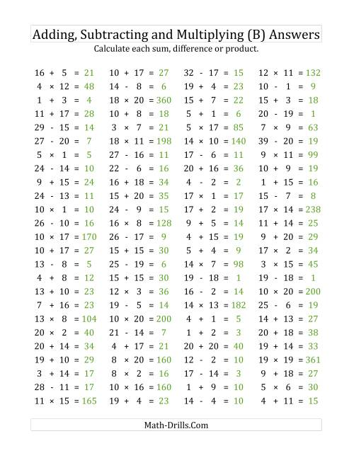 The 100 Horizontal Addition/Subtraction/Multiplication Questions (Facts 1 to 20) (B) Math Worksheet Page 2
