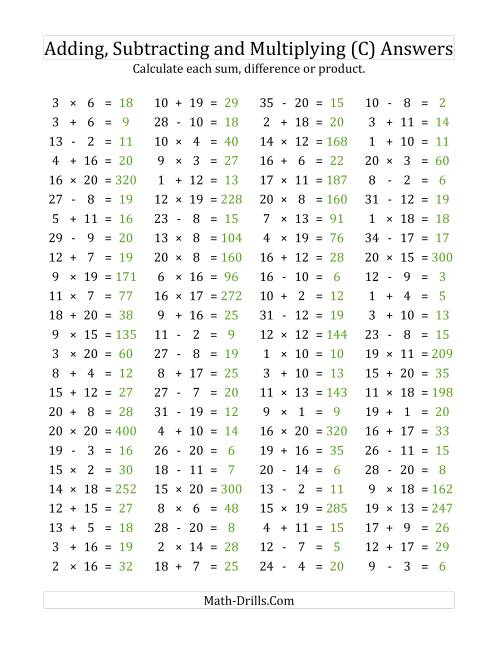 The 100 Horizontal Addition/Subtraction/Multiplication Questions (Facts 1 to 20) (C) Math Worksheet Page 2