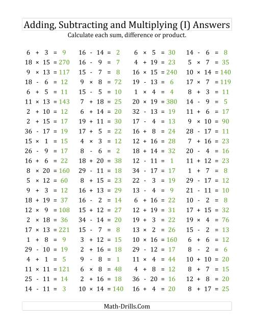 The 100 Horizontal Addition/Subtraction/Multiplication Questions (Facts 1 to 20) (I) Math Worksheet Page 2